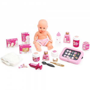Set cadita si accesorii pentru papusi Smoby Baby Nurse Nursery roz [1]