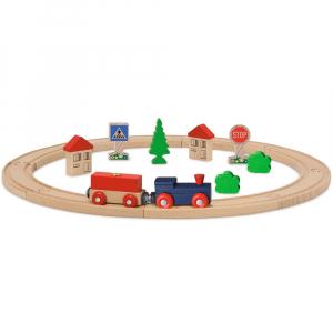 Set din lemn Eichhorn Tren albastru cu sina circulara si accesorii0
