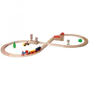 Set din lemn Eichhorn Tren cu sina in forma 8 si accesorii0