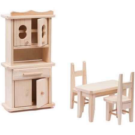 Set mobilier bucatarie din lemn natur pentru papusi0