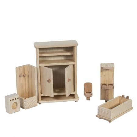Set mobilier de baie din lemn natur pentru papusi [0]