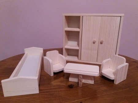 Set mobilier dormitor din lemn natur pentru papusi [2]