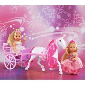 Set Simba Evi Love Romantic Carriage cu 2 papusi 12 cm si caleasca [1]