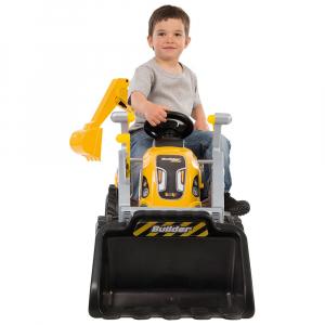 Tractor cu pedale si remorca Smoby Builder Max galben1