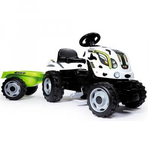 Tractor cu pedale si remorca Smoby Farmer XL alb negru [1]