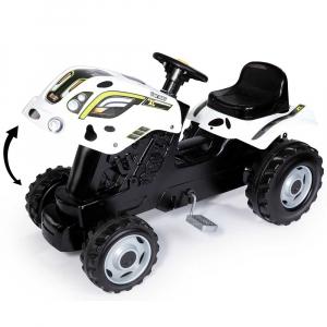 Tractor cu pedale si remorca Smoby Farmer XL alb negru5