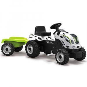 Tractor cu pedale si remorca Smoby Farmer XL alb negru [0]