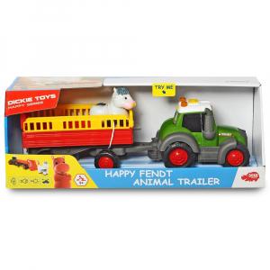 Tractor Dickie Toys Happy Fendt Animal Trailer cu remorca si figurina8