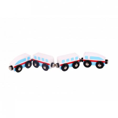 Trenulet lemn alb si albastru cu magnet0