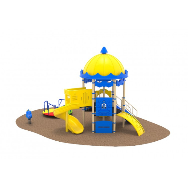 02 Oferta speciala Ansamblu echipamente loc de joaca Scara 2 Tobogane Cataratoare Figurina arc Carusel [0]