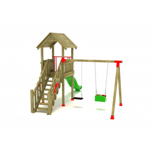 07A Clasic Echipament loc de joaca exterior parc din lemn cu Scara Tobogan si 2 Leagane 1
