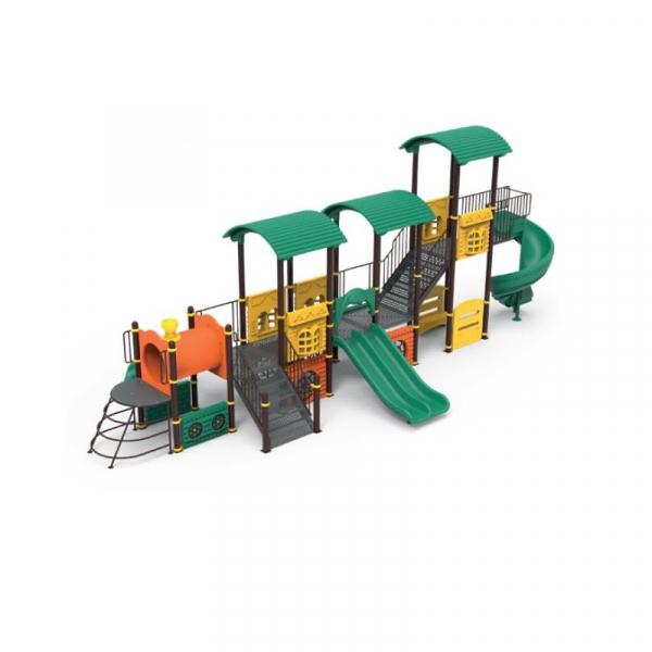 PK.10103/A Tren Ansamblu loc de joaca exterior parc din metal cu Scara 3 Tobogane Tunel Bancute și 2 Cățărătoare 0