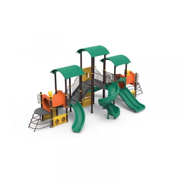 PK.10104/A Tren Ansamblu loc de joaca exterior parc din metal cu Scara 4 Tobogane 2 Tunele Bancute și 2 Cățărătoare 0