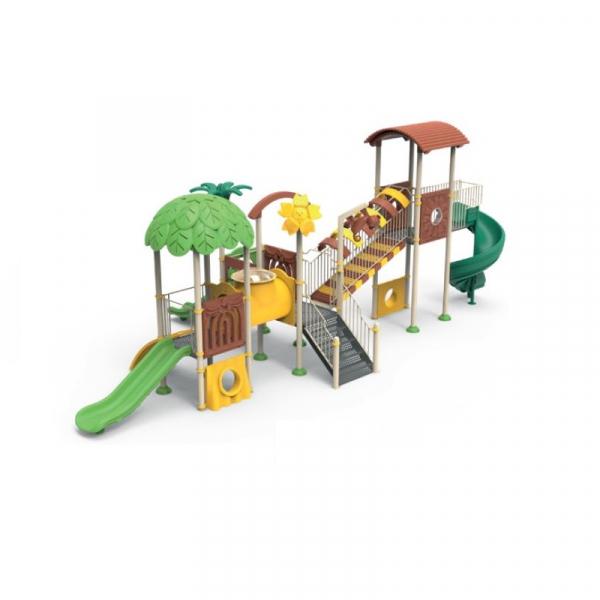 PK.10202/A Padure Echipament loc de joaca exterior parc din metal cu Scara 3 Tobogane Activitati Tunel și Cățărătoare 0