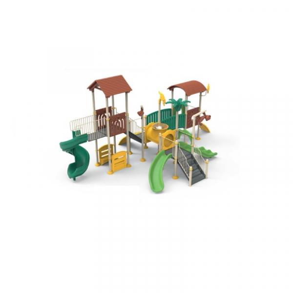 PK.10203/A Padure Ansamblu Echipament loc de joaca exterior parc din metal cu Scara 4 Tobogane Tunel Bancute și 2 Cățărătoare 0