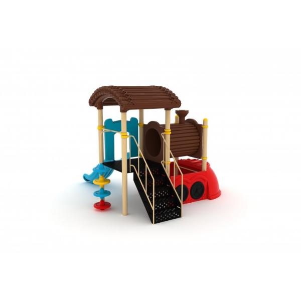 182M Tren Echipament loc de joaca exterior parc din metal cu Scară Tobogan și Cățărătoare 1
