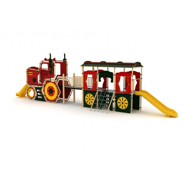 22YN Seria HDPE Echipament loc de joaca Tren cu 2 Tobogane si Cățărătoare 1