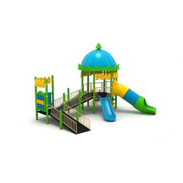 25EG Complex Echipament loc de joaca dizabilitati exterior parc din metal cu Rampă 4 Tobogane Cataratoare și Activități 0