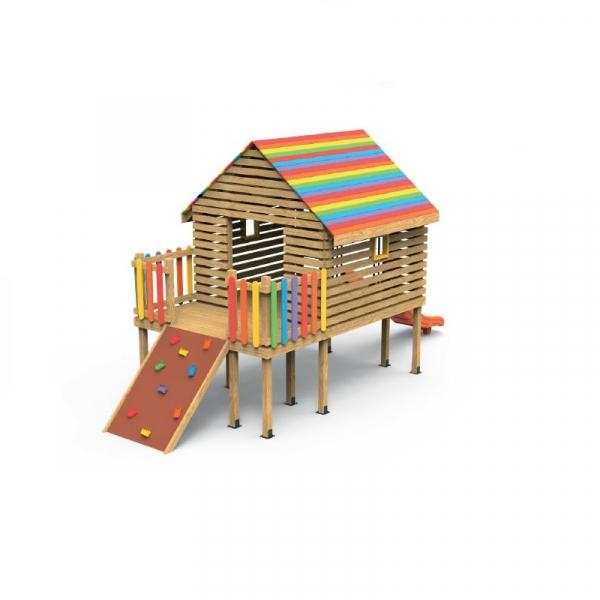 PK.27003/A Casa Echipament loc de joaca exterior parc din lemn cu Cataratoare si Tobogan 0
