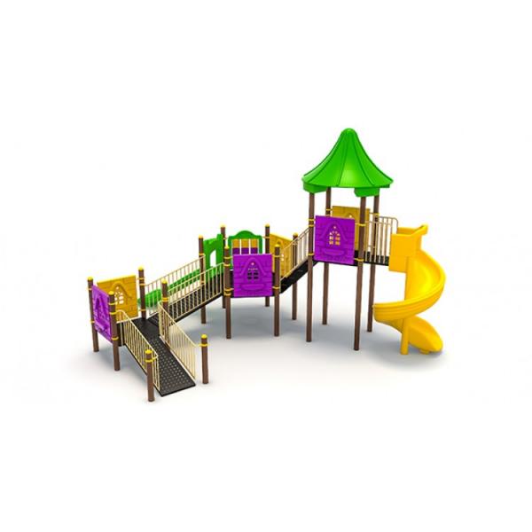 27EG Complex Echipament loc de joaca dizabilitati exterior parc din metal cu Rampă 2 Tobogane și Activități 0