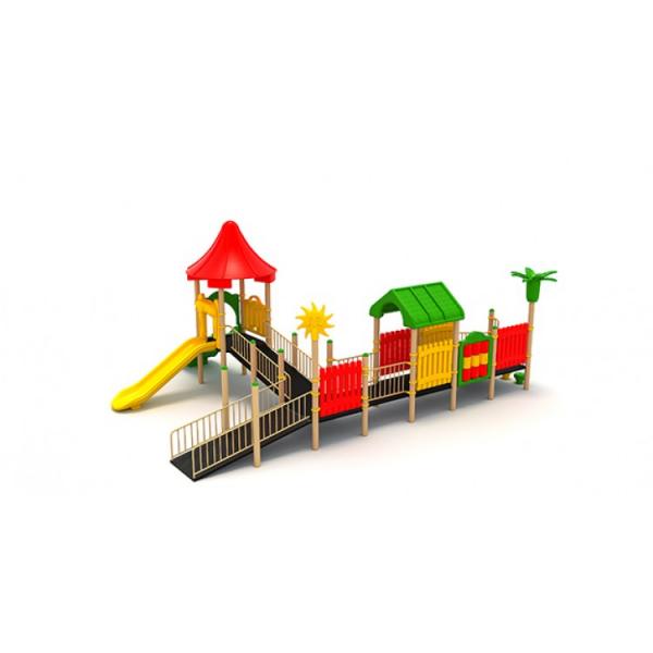 28EG Complex Echipament loc de joaca dizabilitati exterior parc din metal cu 2 Rampe 2 Tobogane Cataratoare și Activități [1]