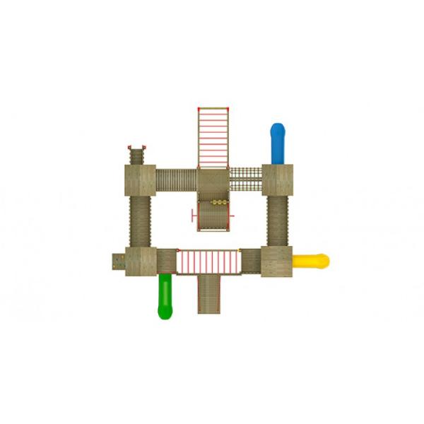 35A Castel Ansamblu Echipamente loc de joaca exterior parc din lemn cu Scara 3 Tobogane Activitati si 5 Cataratoare [2]