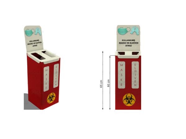 Coș de gunoi pentru măști medicale și mănuși cu capac glisant [0]