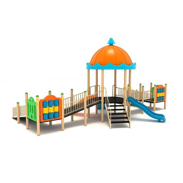 47EG Complex Echipament loc de joaca dizabilitati exterior parc din metal cu Scara 2 Rampe 2 Tobogane Activități și Cățărătoare 1