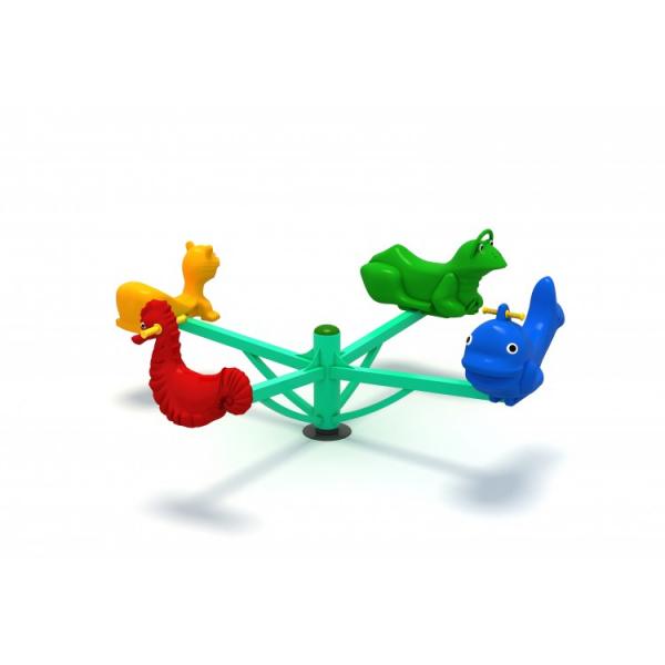 64OE Carusel rotativ Element loc de joaca Figurine animale cu 4 locuri 2