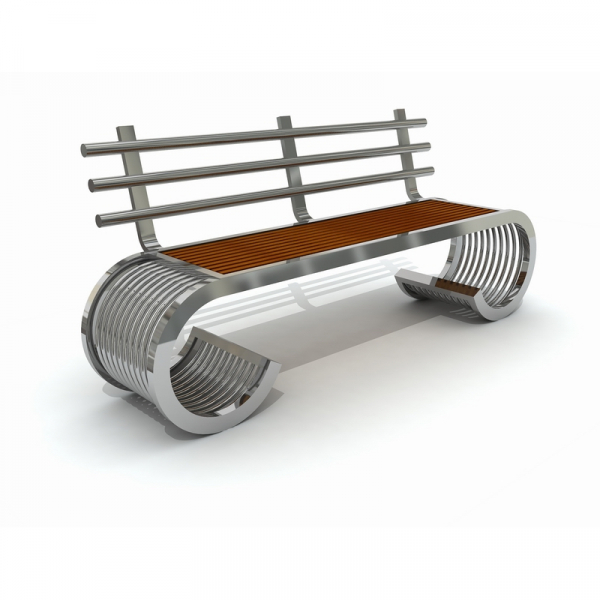 MOB 338B Mobilier urban stradal parc Banca din metal inoxidabil 0