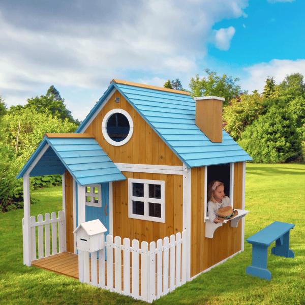 Căsuţă pentru grădină din lemn cu bancă, pridvor şi cutie poştală, BULEN 1