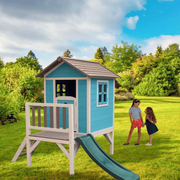 Căsuţă pentru grădină din lemn pentru copii cu tobogan, albastru / gri / alb, MAILEN 1