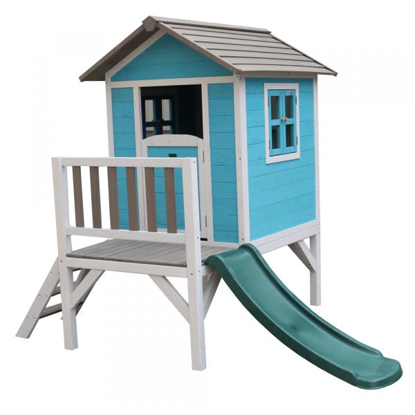 Căsuţă pentru grădină din lemn pentru copii cu tobogan, albastru / gri / alb, MAILEN 5
