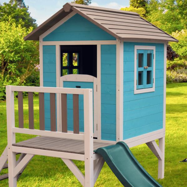 Căsuţă pentru grădină din lemn pentru copii cu tobogan, albastru / gri / alb, MAILEN 2