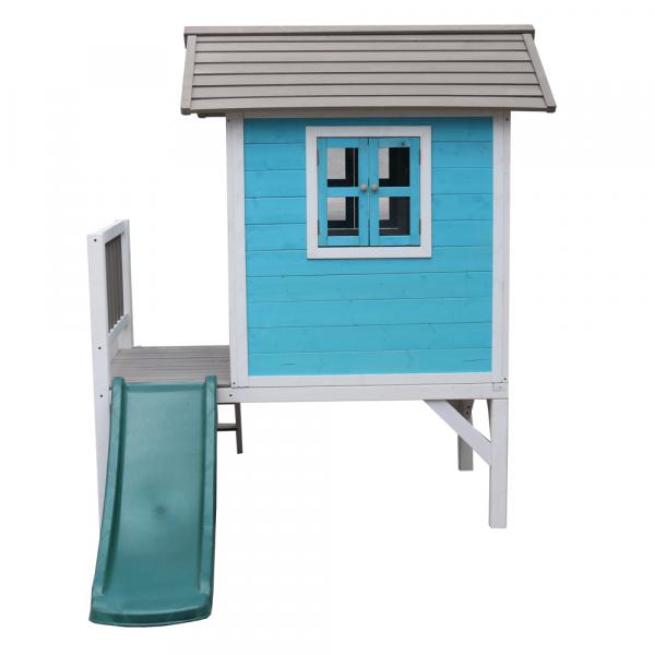 Căsuţă pentru grădină din lemn pentru copii cu tobogan, albastru / gri / alb, MAILEN 6