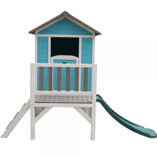 Căsuţă pentru grădină din lemn pentru copii cu tobogan, albastru / gri / alb, MAILEN 4