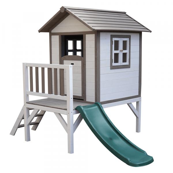 Căsuţă pentru grădină din lemn pentru copii cu tobogan, gri / alb, MAILEN 0