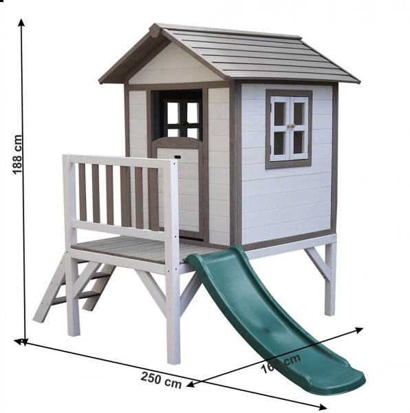 Căsuţă pentru grădină din lemn pentru copii cu tobogan, gri / alb, MAILEN 2