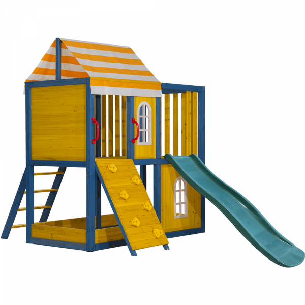 Căsuţă pentru grădină din lemn / loc de joacă pentru copii cu tobogan şi perete de căţărat, MANAS 0