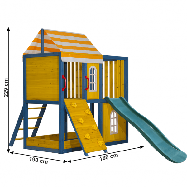 Căsuţă pentru grădină din lemn / loc de joacă pentru copii cu tobogan şi perete de căţărat, MANAS 2