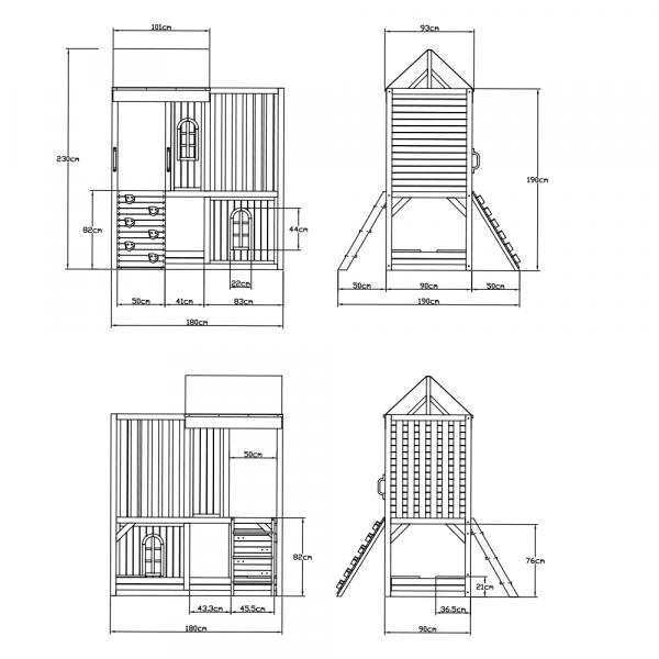 Căsuţă pentru grădină din lemn / loc de joacă pentru copii cu tobogan şi perete de căţărat, MANAS 8