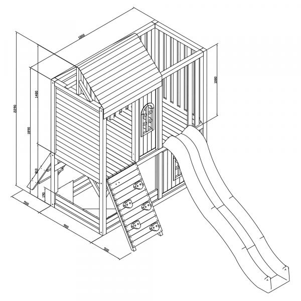 Căsuţă pentru grădină din lemn / loc de joacă pentru copii cu tobogan şi perete de căţărat, MANAS 9