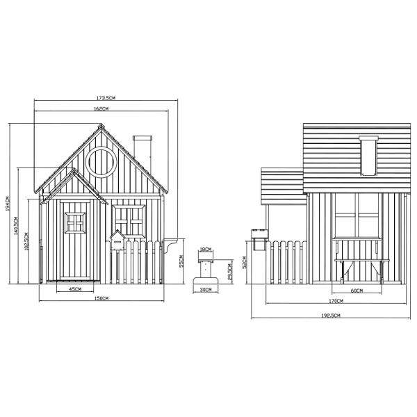 Căsuţă pentru grădină din lemn cu bancă, pridvor şi cutie poştală, BULEN 4