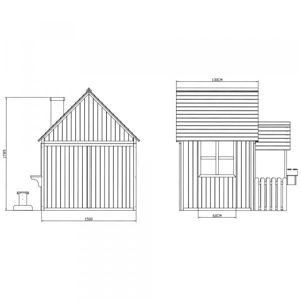 Căsuţă pentru grădină din lemn cu bancă, pridvor şi cutie poştală, BULEN 5