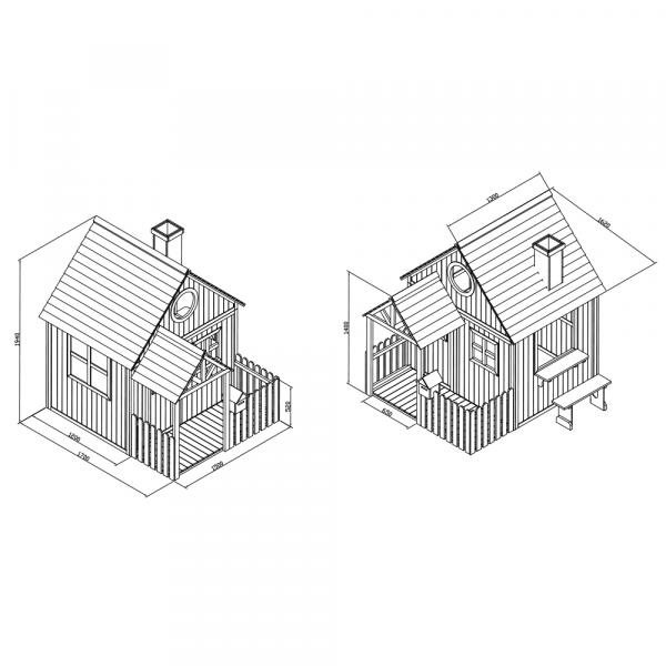 Căsuţă pentru grădină din lemn cu bancă, pridvor şi cutie poştală, BULEN 3