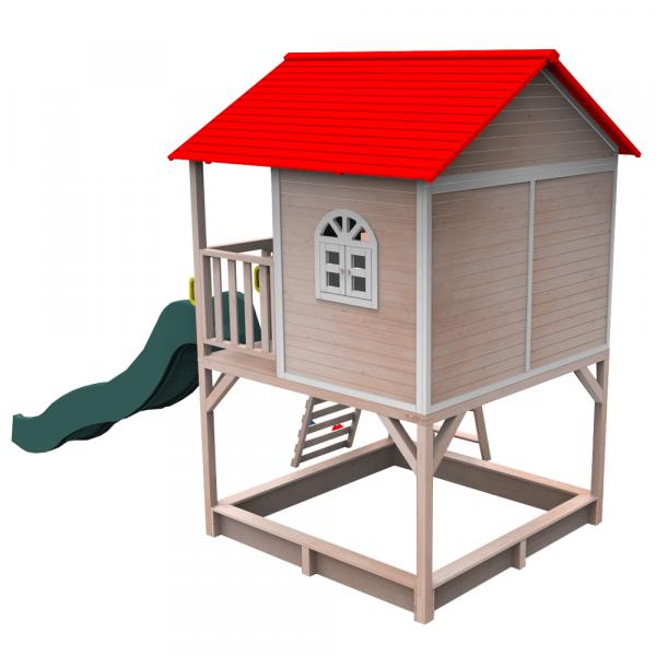 Căsuţă pentru grădină din lemn cu tobogan, loc cu nisip şi zid de căţărat OMAH 3