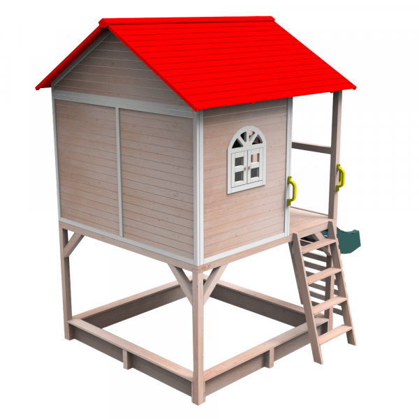 Căsuţă pentru grădină din lemn cu tobogan, loc cu nisip şi zid de căţărat OMAH 4