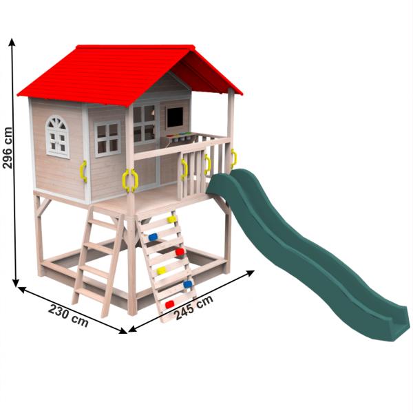 Căsuţă pentru grădină din lemn cu tobogan, loc cu nisip şi zid de căţărat OMAH 2