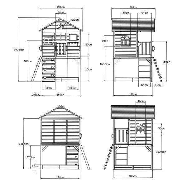Căsuţă pentru grădină din lemn cu tobogan, loc cu nisip şi zid de căţărat OMAH 6