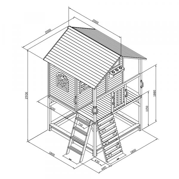 Căsuţă pentru grădină din lemn cu tobogan, loc cu nisip şi zid de căţărat OMAH 5